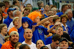 Two young Gator fans gator chomp during the game.  Florida Gators vs UCONN Huskies.  January 3rd, 2015. Gator Country photo by David Bowie.