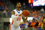 Florida Gators forward Chris Walker shoots a free throw attempt during the second half.  Florida Gators vs UCONN Huskies.  January 3rd, 2015. Gator Country photo by David Bowie.