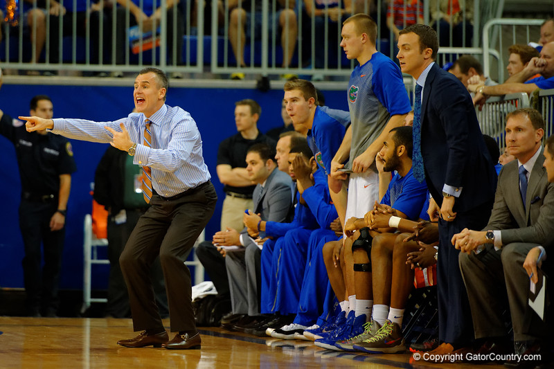 Florida Gators head coach Billy Donovan screams out his instructions during the second half.  Florida Gators vs UCONN Huskies.  January 3rd, 2015. Gator Country photo by David Bowie.