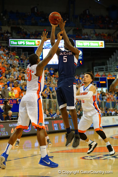 UCONN Huskies guard Daniel Hamilton shoots during the second half.  Florida Gators vs UCONN Huskies.  January 3rd, 2015. Gator Country photo by David Bowie.