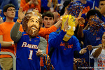 Two Rowdy Reptiles dressed up like The Burger King and Bart Simpson Gator Chomp during the first half.  Florida Gators vs UCONN Huskies.  January 3rd, 2015. Gator Country photo by David Bowie.