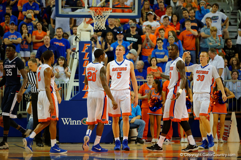 Florida Gators forward Alex Murphy reacts after missing two free throws late in the second quarter.  Florida Gators vs UCONN Huskies.  January 3rd, 2015. Gator Country photo by David Bowie.