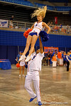 The Florida cheerleaders perform as the Florida Gators sign posters and take photos at the 2015 Florida Gators Fan Day.  August 15th, 2015.  Gator Country Photo by David Bowie.