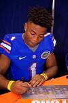 Florida Gators defensive back Vernon Hargreaves, III signs a poster for a fan during the 2015 Florida Gators Fan Day.  August 15th, 2015.  Gator Country Photo by David Bowie.