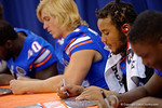 Florida Gators linebacker Antonio Morrison and the Florida Gators sign posters and take photos with the fans during the 2015 Florida Gators Fan Day.  August 15th, 2015.  Gator Country Photo by David Bowie.