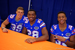 Florida Gators defensive backs Micheal Iorio(39), Kylan Johnson(28) and Chris Williamson(35) pose for the camera during the 2015 Florida Gators Fan Day.  August 15th, 2015.  Gator Country Photo by David Bowie.