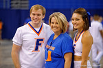 The Florida cheerleaders pose with a fan as the Florida Gators sign posters and take photos at the 2015 Florida Gators Fan Day.  August 15th, 2015.  Gator Country Photo by David Bowie.