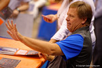 Florida Gators head coach Jim McElwainsigns a poster for a fan during the 2015 Florida Gators Fan Day.  August 15th, 2015.  Gator Country Photo by David Bowie.