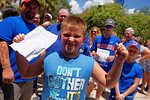A young Gators fan poses as he waits to enter the Stephen C. O'Connell Center for the start of the 2015 Florida Gators football Fan Day.  August 15th, 2015.  Gator Country Photo by David Bowie.