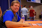 Florida Gators head coach Jim McElwain smiles for the camera during the 2015 Florida Gators Fan Day.  August 15th, 2015.  Gator Country Photo by David Bowie.