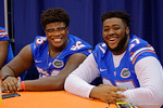 Florida Gators offensive lineman Nick Buchanan(66) and Brandon Sandifer(67) pose for the camera during the 2015 Florida Gators Fan Day.  August 15th, 2015.  Gator Country Photo by David Bowie.
