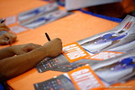 The Florida Gators football players sign posters during the 2015 Florida Gators Fan Day.  August 15th, 2015.  Gator Country Photo by David Bowie.