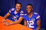Florida Gators quarterbacks Jacob Guy and Josh Grady smile for the camera during the 2015 Florida Gators Fan Day.  August 15th, 2015.  Gator Country Photo by David Bowie.