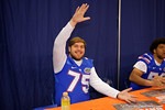 Florida Gators offensive lineman Mason Halter gator chomps for the camera during the 2015 Florida Gators Fan Day.  August 15th, 2015.  Gator Country Photo by David Bowie.