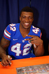 Florida Gators defensive back Keanu Neal poses for the camera during the 2015 Florida Gators Fan Day.  August 15th, 2015.  Gator Country Photo by David Bowie.