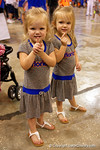 Two young Gator fans show who they think is #1 as the Florida Gators sign posters and take photos at the 2015 Florida Gators Fan Day.  August 15th, 2015.  Gator Country Photo by David Bowie.