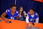 Gator Country's Kassidy Hill interviews Florida Gators defensive backs Quincy Wilson(6) and Jalen Tabor(31) during the 2015 Florida Gators Fan Day.  August 15th, 2015.  Gator Country Photo by David Bowie.