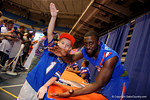 Florida Gators wide receiver Latroy Pittman gator chomps with a fan during the 2015 Florida Gators Fan Day.  August 15th, 2015.  Gator Country Photo by David Bowie.