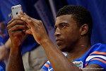 Florida Gators defensive back Keanu Neal poses into his phone during the 2015 Florida Gators Fan Day.  August 15th, 2015.  Gator Country Photo by David Bowie.