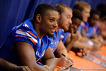 Florida Gators defensive lineman Cece Jefferson signs posters and takes photos with the fans during the 2015 Florida Gators Fan Day.  August 15th, 2015.  Gator Country Photo by David Bowie.