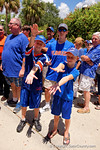 Two Gator fans pose as they wait to enter the Stephen C. O'Connell Center for the start of the 2015 Florida Gators football Fan Day.  August 15th, 2015.  Gator Country Photo by David Bowie.