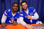 Florida Gators quarterback Treon Harris(3) and Florida Gators quarterback Will Grier(7) pose for the camera during the 2015 Florida Gators Fan Day.  August 15th, 2015.  Gator Country Photo by David Bowie.