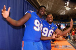 Florida Gators defensive linemen Luke Ancrum(98) and Cece Jefferson pose for the camera during the 2015 Florida Gators Fan Day.  August 15th, 2015.  Gator Country Photo by David Bowie.