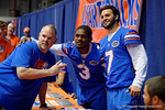 Florida Gators quarterbacks Treon Harris(3) and Will Grier(7) pose with a fan for a photo during the 2015 Florida Gators Fan Day.  August 15th, 2015.  Gator Country Photo by David Bowie.