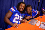 Florida Gators running backs Kelvin Taylor(21) and Jordan Scarlett(25) pose for the camera during the 2015 Florida Gators Fan Day.  August 15th, 2015.  Gator Country Photo by David Bowie.