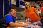 Florida Gators head coach Jim McElwain takes a photo with a Gator fan during the 2015 Florida Gators Fan Day.  August 15th, 2015.  Gator Country Photo by David Bowie.