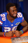Florida Gators defensive back Marcus Maye flashes his smile during the 2015 Florida Gators Fan Day.  August 15th, 2015.  Gator Country Photo by David Bowie.