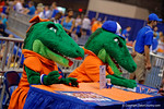 Alberta and Albert sign posters during the 2015 Florida Gators Fan Day.  August 15th, 2015.  Gator Country Photo by David Bowie.
