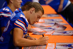Florida Gators quarterback Harry Gornto V signs a poster during the 2015 Florida Gators Fan Day.  August 15th, 2015.  Gator Country Photo by David Bowie.