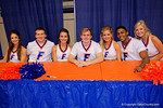 Florida cheerleaders during the 2015 Florida Gators Fan Day.  August 15th, 2015.  Gator Country Photo by David Bowie.
