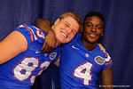 Florida Gators tight end Jake McGee(83) and Florida Gators wide receiver Brandon Powell(4) pose for the camera during the 2015 Florida Gators Fan Day.  August 15th, 2015.  Gator Country Photo by David Bowie.