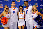 Florida cheerleaders pose as the Florida Gators sign posters and take photos with the fans during Fan Day.  August 15th, 2015.  Gator Country Photo by David Bowie.
