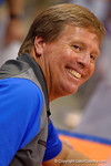 Florida Gators head coach Jim McElwain flashes a smile during the 2015 Florida Gators Fan Day.  August 15th, 2015.  Gator Country Photo by David Bowie.