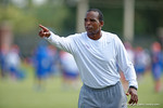 Florida Gators associate head coach Randy Shannon coaches up the linebackers as the Gators continue fall practice.  August 8th, 2015.  Gator Country Photo.