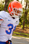 Florida Gators defensive back Jalen Tabor as the Gators walk off the buses and onto the Dizney Lacrosse Field for practice.  August 8th, 2015.  Gator Country Photo.