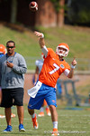 Florida Gators quarterback Will Grier launches a deep ball downfield as the Gators continue fall practice.  August 8th, 2015.  Gator Country Photo.
