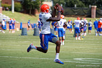 Florida Gators defensive back Deiondre Porter leaps into the air for the catch as the Gators continue fall practice.  August 8th, 2015.  Gator Country Photo.