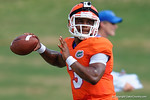 Florida Gators quarterback Treon Harris throws downfield wearing a GoPro on his head as the Gators continue fall practice.  August 8th, 2015.  Gator Country Photo.