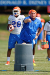 Florida Gators defensive coordinator Geoff Collins as the Gators continue fall practice.  August 8th, 2015.  Gator Country Photo.