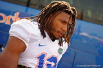 Florida Gators linebacker Daniel McMillian as the Gators walk off the buses and onto the Dizney Lacrosse Field for practice.  August 8th, 2015.  Gator Country Photo.