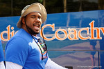 Florida Gators running backs coach Tim Skipper as the Gators walk off the buses and onto the Dizney Lacrosse Field for practice.  August 8th, 2015.  Gator Country Photo.