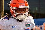 Florida Gators defensive back Marcell Harris as the Gators walk off the buses and onto the Dizney Lacrosse Field for practice.  August 8th, 2015.  Gator Country Photo.