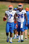 Florida Gators safety Duke Dawson(7) and Florida Gators defensive back Marcell Harris(26) as the Gators continue fall practice.  August 8th, 2015.  Gator Country Photo.