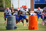 Florida Gators linebacker Antonio Morrison sprints upfield during a linebackers drill as the Gators continue fall practice.  August 8th, 2015.  Gator Country Photo.