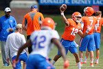Florida Gators quarterback Josh Grady throwing during a drill as the Gators continue fall practice.  August 8th, 2015.  Gator Country Photo.