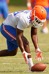 Florida Gators defensive back Kerol Francois picks up a fumble as the Gators continue fall practice.  August 8th, 2015.  Gator Country Photo.